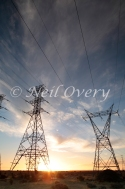 Electricity Power Pylons and Lines near Langebaan, Western Cape, South Africa