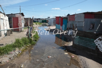 Winter flooding in the informal settlement of Khayelitsha, Cape Town, South Africa