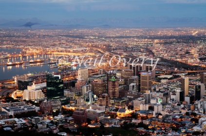 Night falls in Cape Town, Cape Town, South Africa