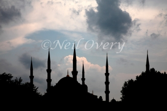 Blue Mosque Minarets during Summer Storm, Istanbul, Turkey