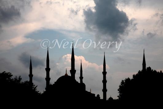 Blue Mosque Minarets during Summer Storm, Istanbul, Turkey