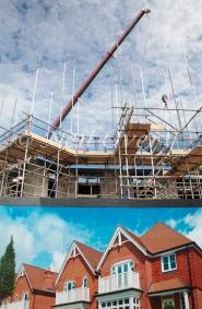 New Hosues being built on farmland near Horsham, West Sussex, England