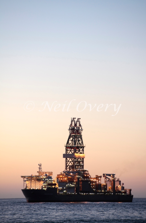 """The """"Deepwater Asgard"""" deepwater drilling ship off Cape Town, South Africa (January 2015). The """"Deepwater Asgard"""" was built in South Korea and entered service in 2014 for Transocean. It can drill up to 40 000ft into the ocean floor looking for oil or gas."""