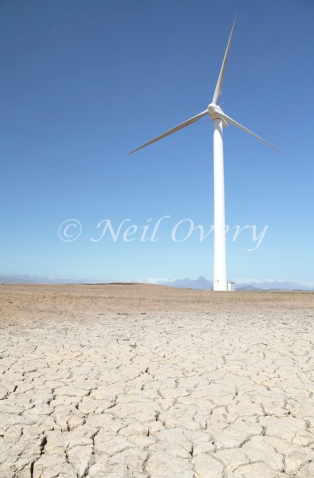 Wind turbine near Malmesbury with drought striken land, Western Cape, South Africa (Drought in South Africa 2016)