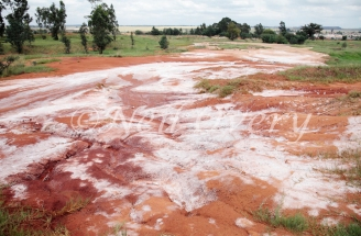 Chemical waste leaking from abandoned vanadium processing plant, Witbank, Mpumalanga, South Africa - the waste allegedly contains various toxic heavy metals.