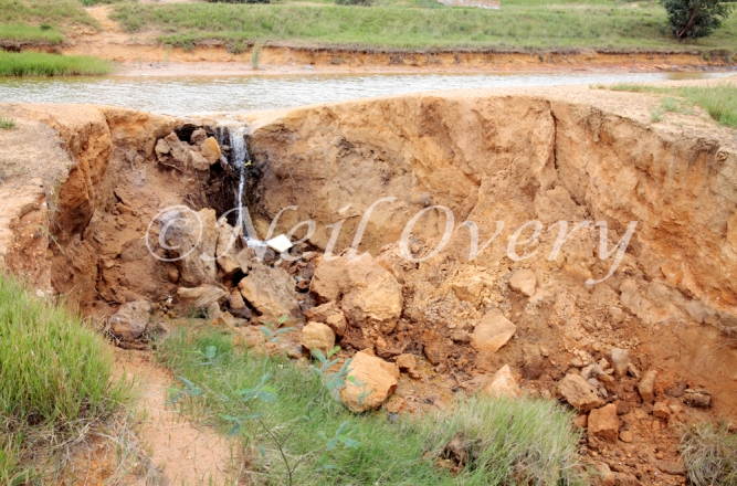 Abandoned and leaking Acid Mine Drainage treatment tailing ponds. Acid Mine Drainage (AMD) is caused when water flows over or through sulfur-bearing materials forming solutions of net acidity. AMD comes mainly from abandoned coal mines and currently active mining. Witbank, Mpumalanga, South Africa