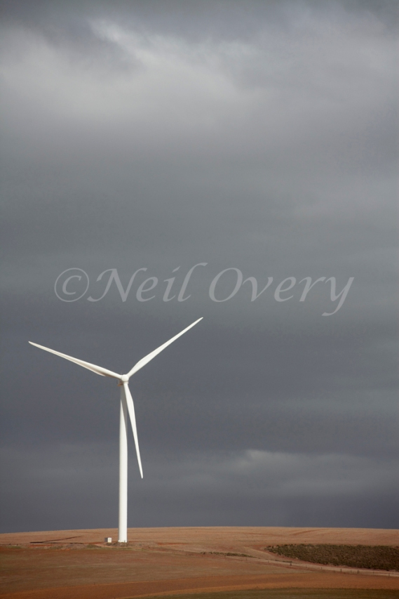 Wind turbine near Ceres during storm, Western Cape, South Africa