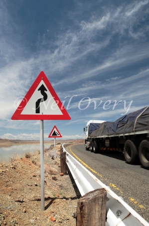 Warning Signs on dangerous road, Gariep, South Africa