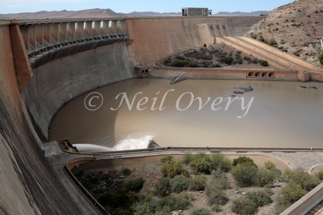 Garipe Dam with open silt valve, Gariep, Eastern Cape, South Africa