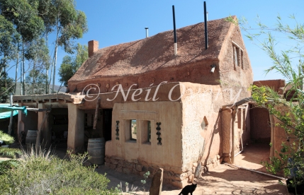 Cob (clay, sand, straw, water, and earth, similar to adobe) House, McGregor, Western Cape, South Africa