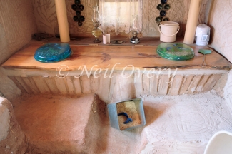 Composting Toilet within Cob (clay, sand, straw, water, and earth, similar to adobe) House, McGregor, Western Cape, South Africa