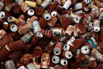 Rusting Drinks can meant for recycling, Grahamstown, Eastern Cape, South Africa