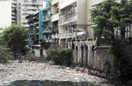 Rubbish in polluted river in Manila, Philippines